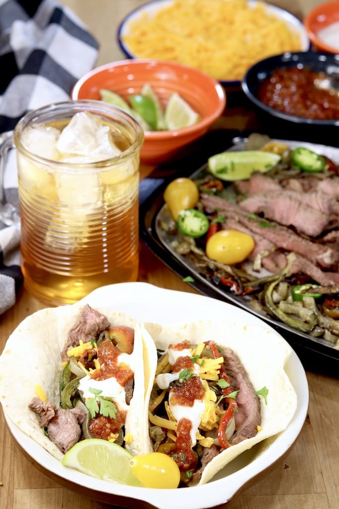 Grilled Steak Fajitas with flour tortillas