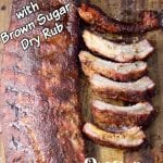 Baby Back Ribs whole rack and sliced. Text overlay with brown sugar dry rub