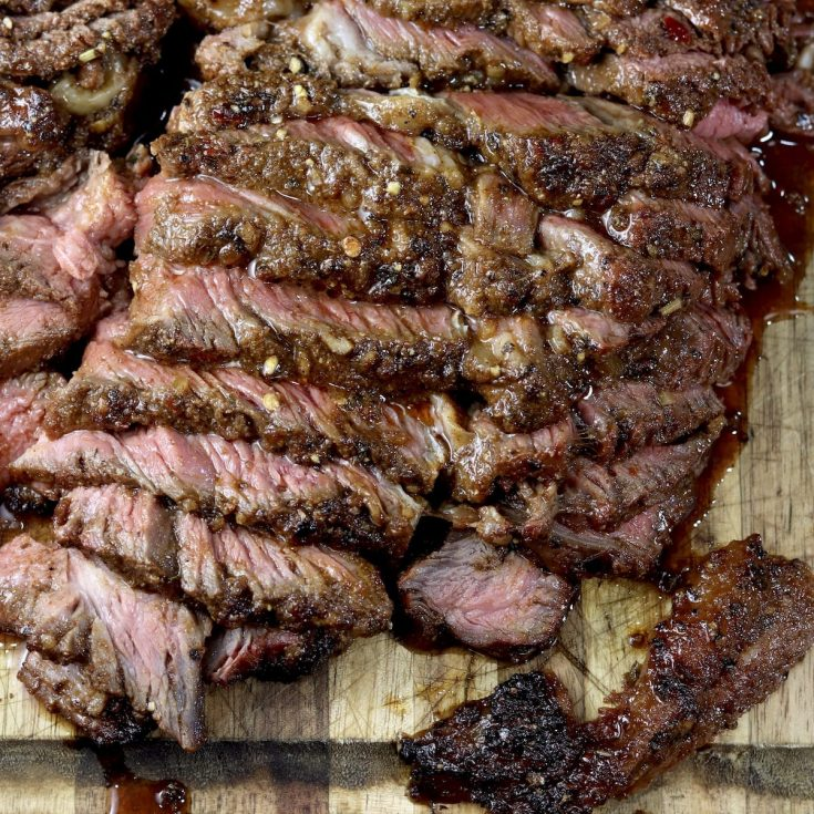 Sliced roast beef that has been marinated and grilled