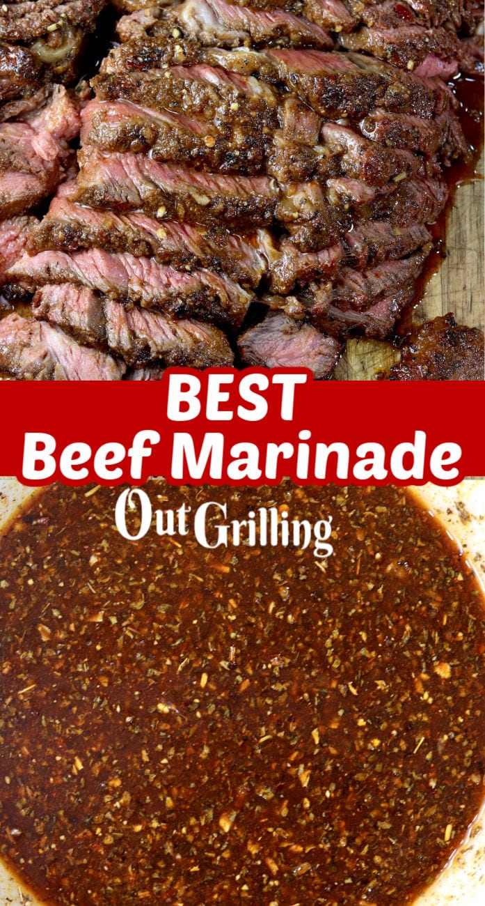 Best Beef Marinade collage with sliced beef and bowl of marinade