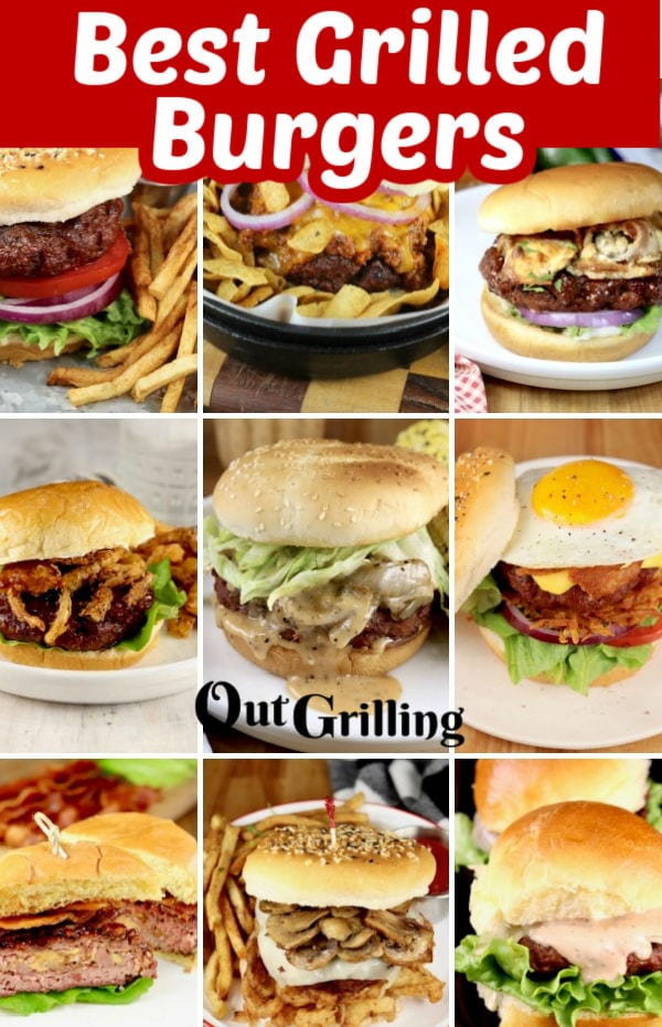 Best Grilled Burgers Pinterest Collage with title overlay