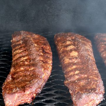 Baby back ribs with brown sugar rub on the grill