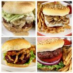 Collage of 4 grilled burgers