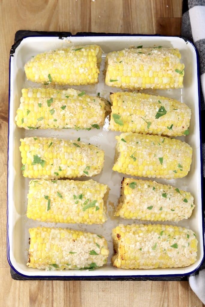 Tray of Mexican corn with cilantro