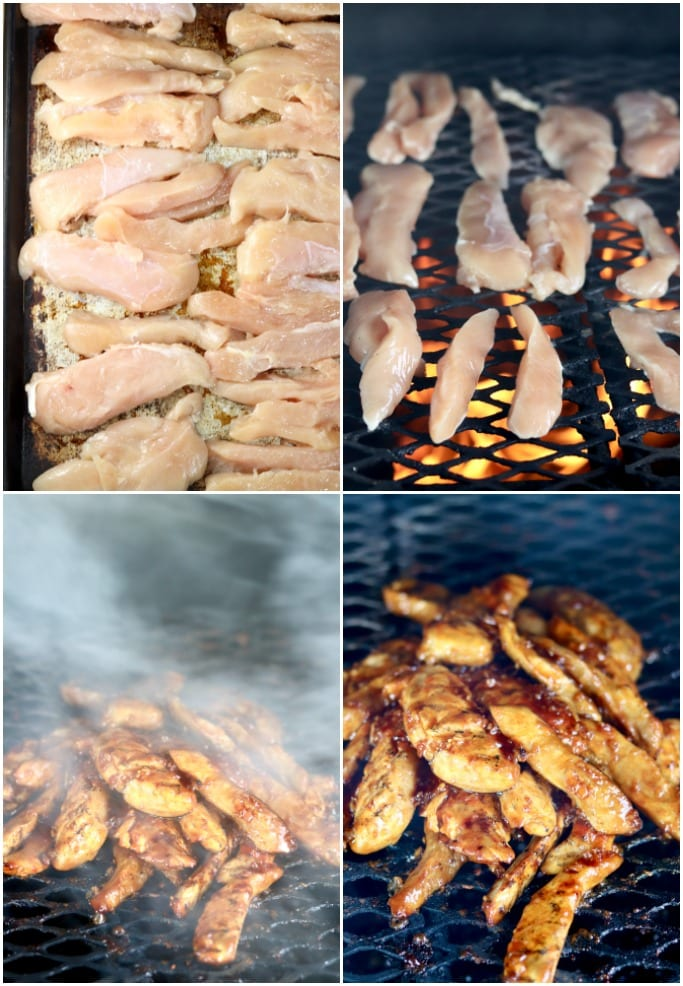 collage of chicken tenders on a pan, on the grill over fire, with smoke, with bbq sauce