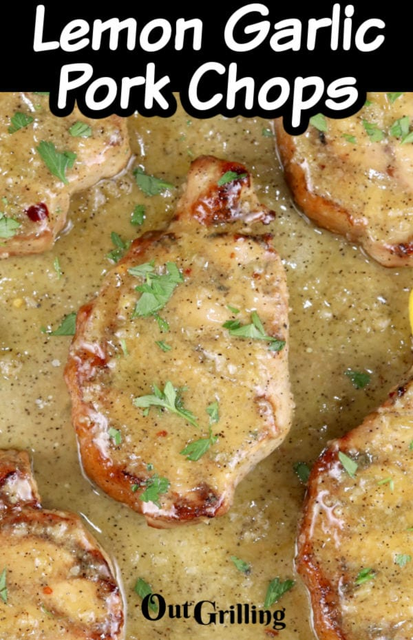 Lemon Garlic Pork Chops with text overlay