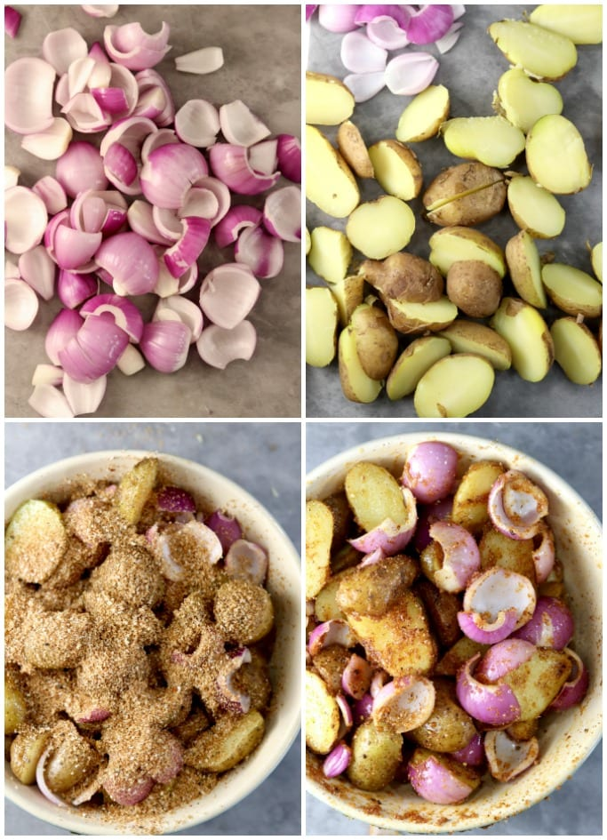 Collage of sliced red onions, potatoes, bowl of mixture with olive oil and dry rub seasoning and then mixed.