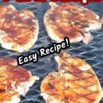 Peach BBQ Pork Chops on the grill - text overlay