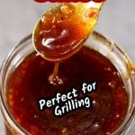 Peach BBQ Sauce with text overlay - great for grilling