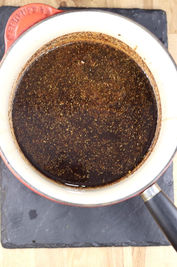 Saucepan with coffee and brown sugar marinade