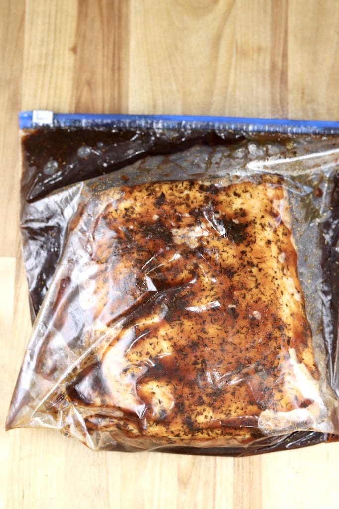 Gallon size ziploc bag with marinated pork loin