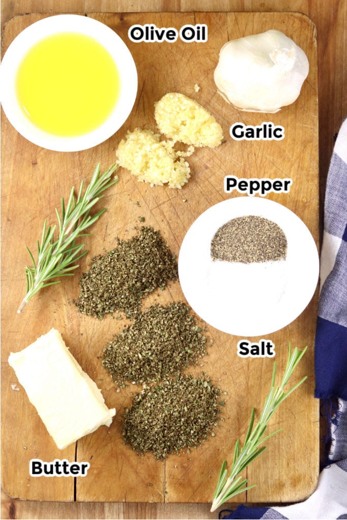 Ingredients for garlic and rosemary potatoes
