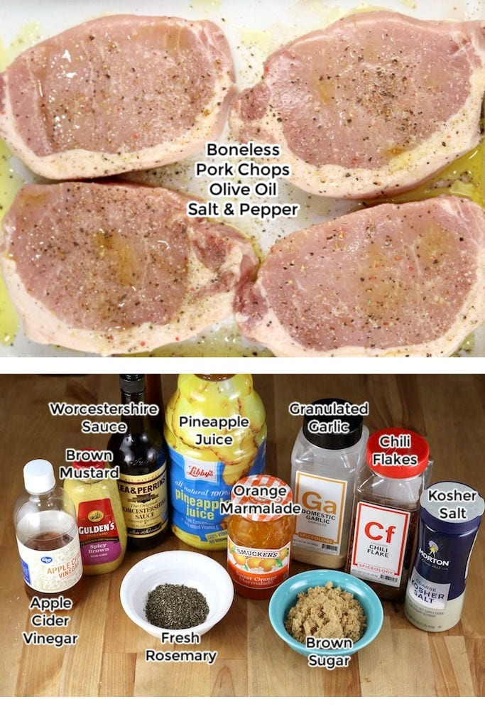 Photo collage boneless pork chops and orange bbq sauce