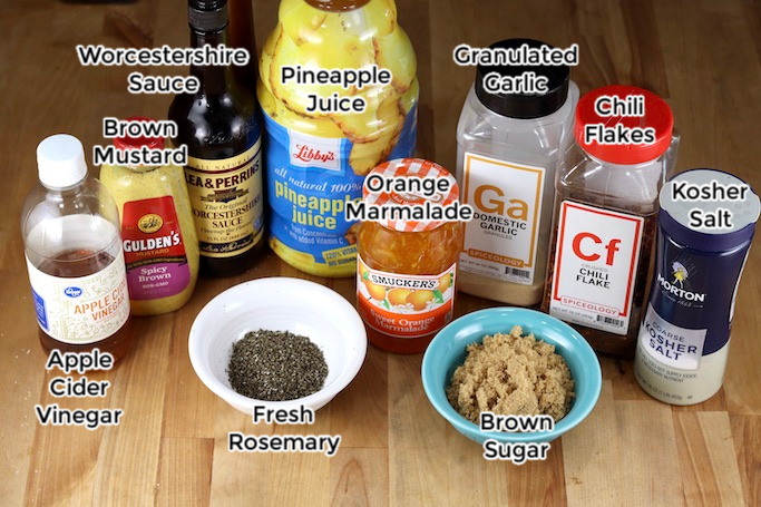 Ingredients for Orange BBQ Sauce with orange marmalade and brown sugar