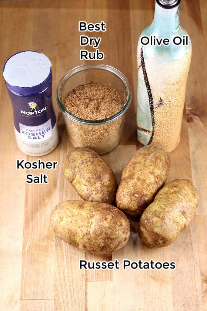 salt, dry rub, olive oil, potatoes