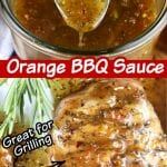 """Collage with text overlay """"Orange BBQ Sauce"""" spoon dipping into sauce and brushed over pork chops"""