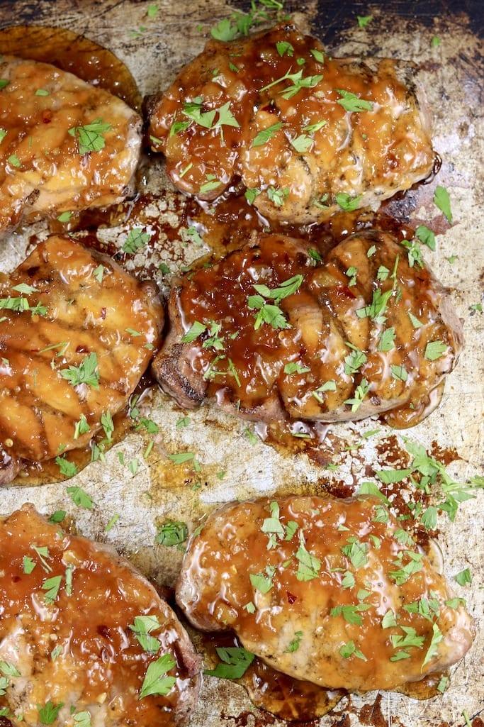 6 Pineapple BBQ Pork Chops on a sheet pan