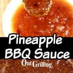 Pineapple BBQ Sauce close up of spoonful and in the pan - center text overlay