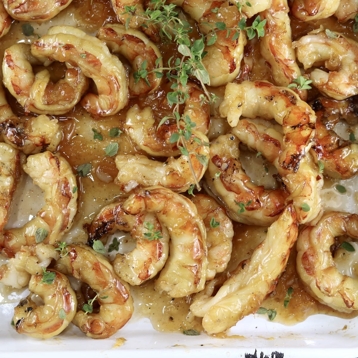 Grilled Pineapple Grilled Shrimp on a tray