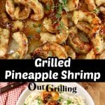 Collage of grilled shrimp and plated with fettuccine alfredo