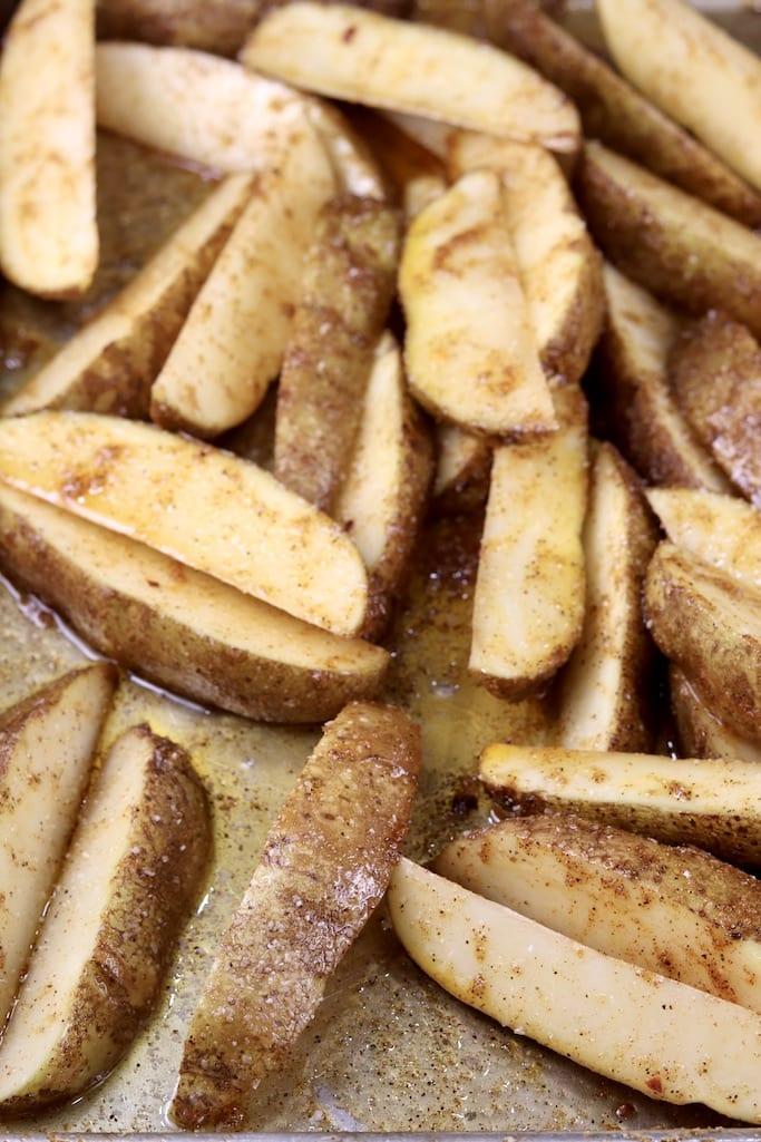 Seasoned Potato Wedges on a pan