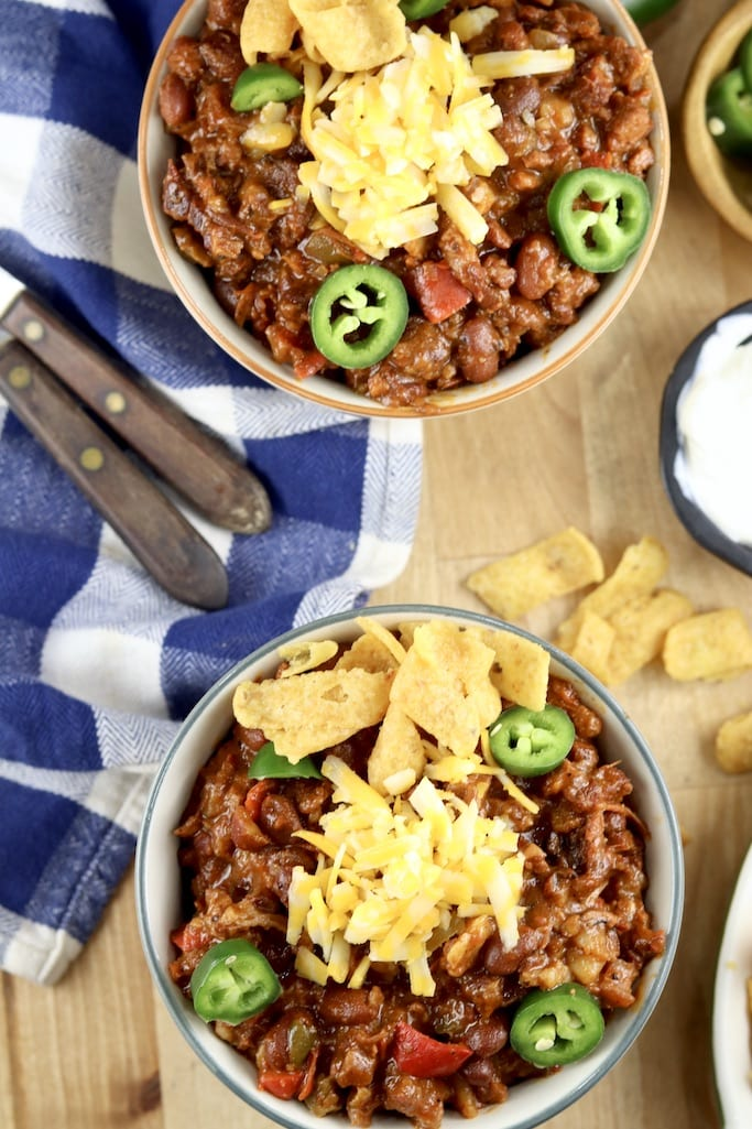 Short Rib Chili 2 bowls - topped with cheese, jalapenos and Fritos