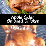 Apple Cider Marinated Chicken collage - plated and on the grill