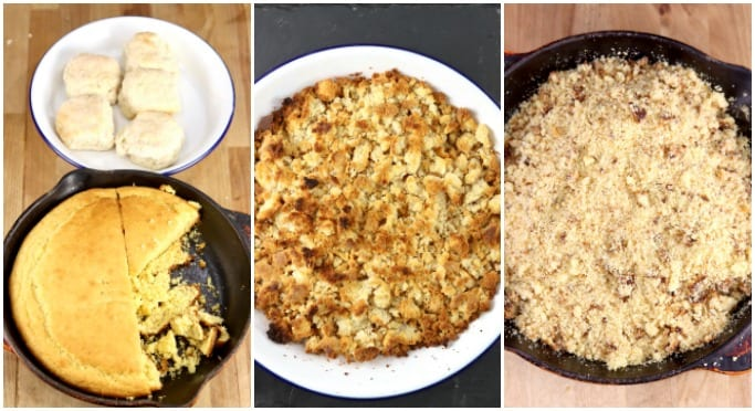 Collage - cornbread in a skillet, biscuits in a pan, toasted bread crumbs and cornbread crumbled in skillet