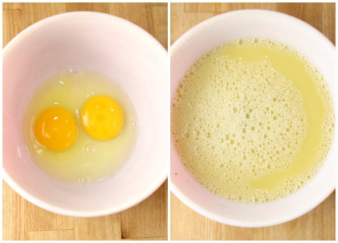 collage - 2 eggs in a bowl, eggs mixed with chicken broth
