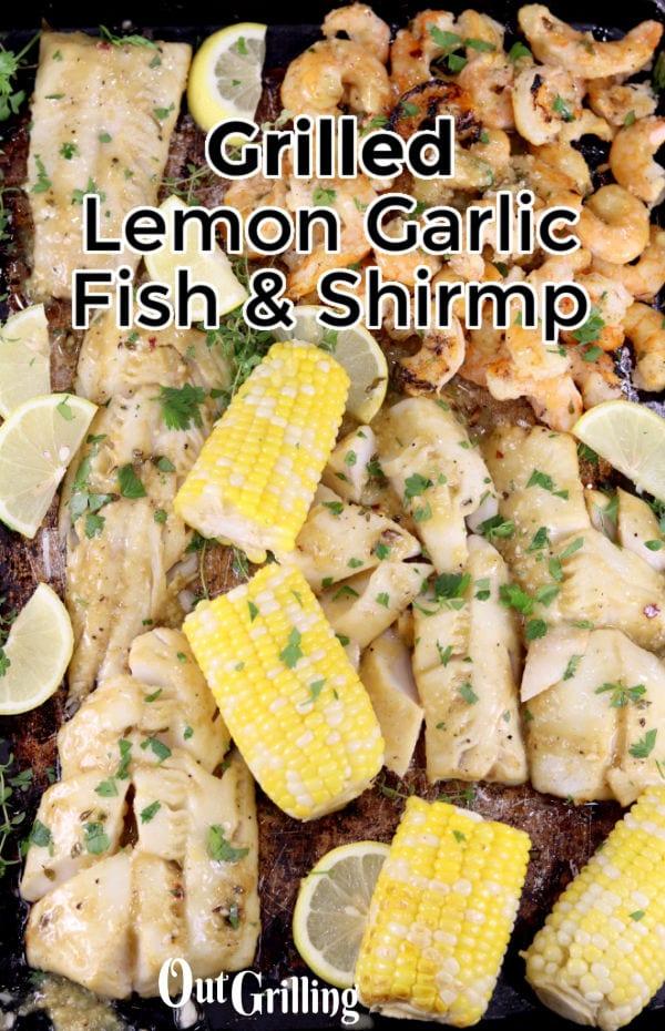 Lemon Garlic Shrimp with corn on the cob on a sheet pan - text overlay of title