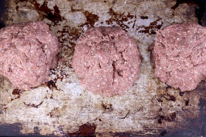 3 balls of ground venison sausage mixture