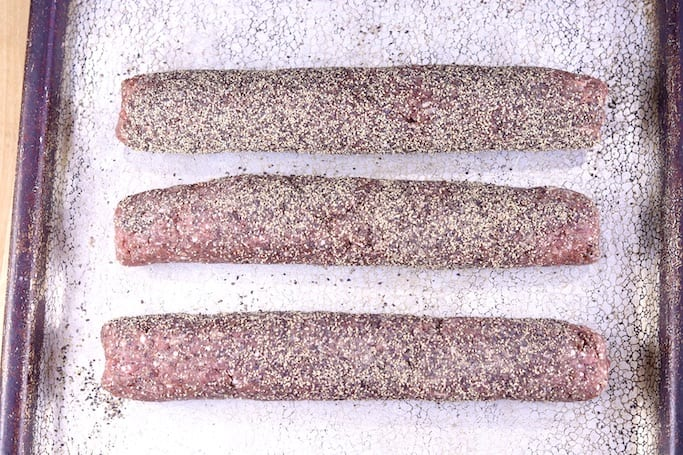 black pepper coated smoked sausage