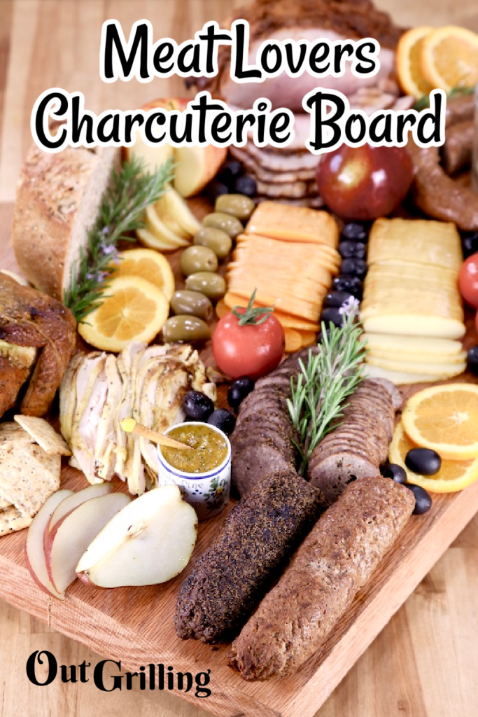 Meat Lovers Charcuterie Board with text overlay