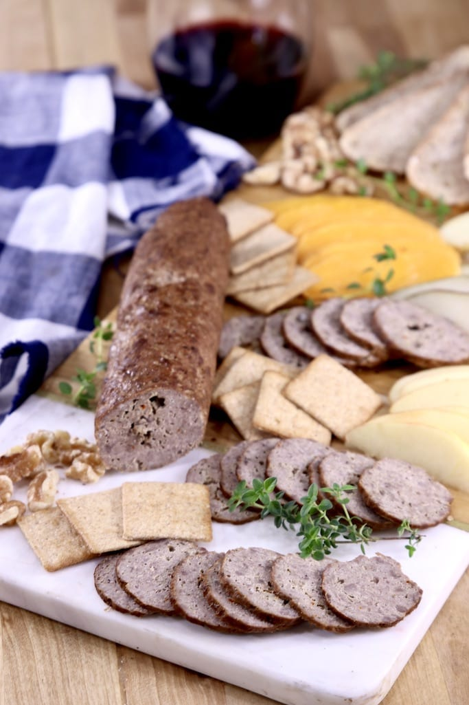 Smoked Summer Sausage Charcuterie Board with cheese, nuts, crackers