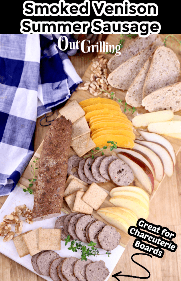 Smoked Summer Sausage on a board with cheese and crackers, text overlay