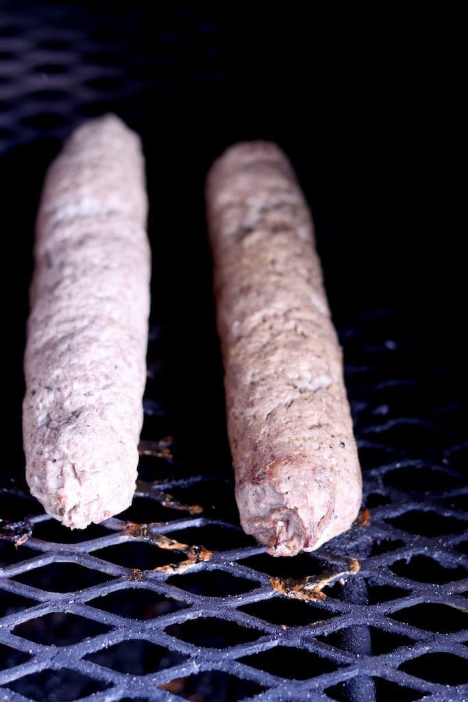 Smoked summer sausage on a grill 2 rolls