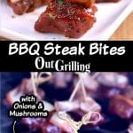 Collage of BBQ Steak Bites, on a platter and on the grill. Text overlay of title