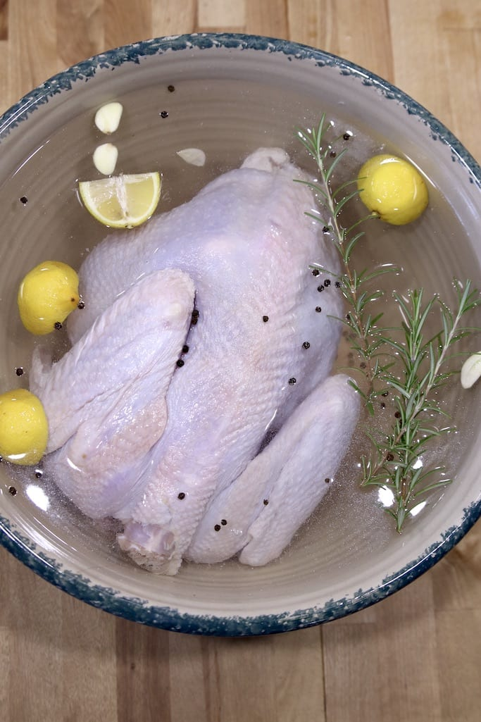 whole turkey in brine with lemon, rosemary and peppercorns