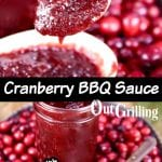 Cranberry BBQ Sauce collage - closeup of spoon, bowl full on a tray with fresh cranberries