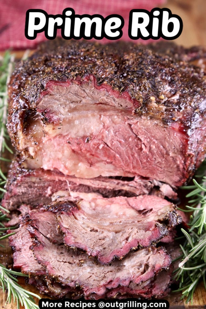 Prime Rib Sliced roast with text overlay