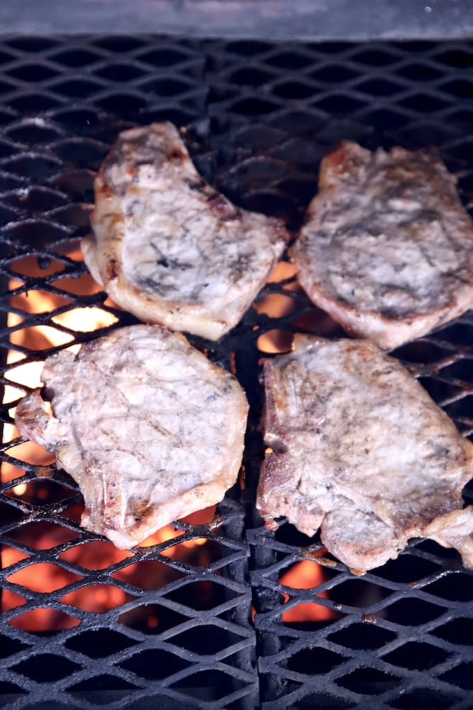 Grilling pork chops with apple cider brine