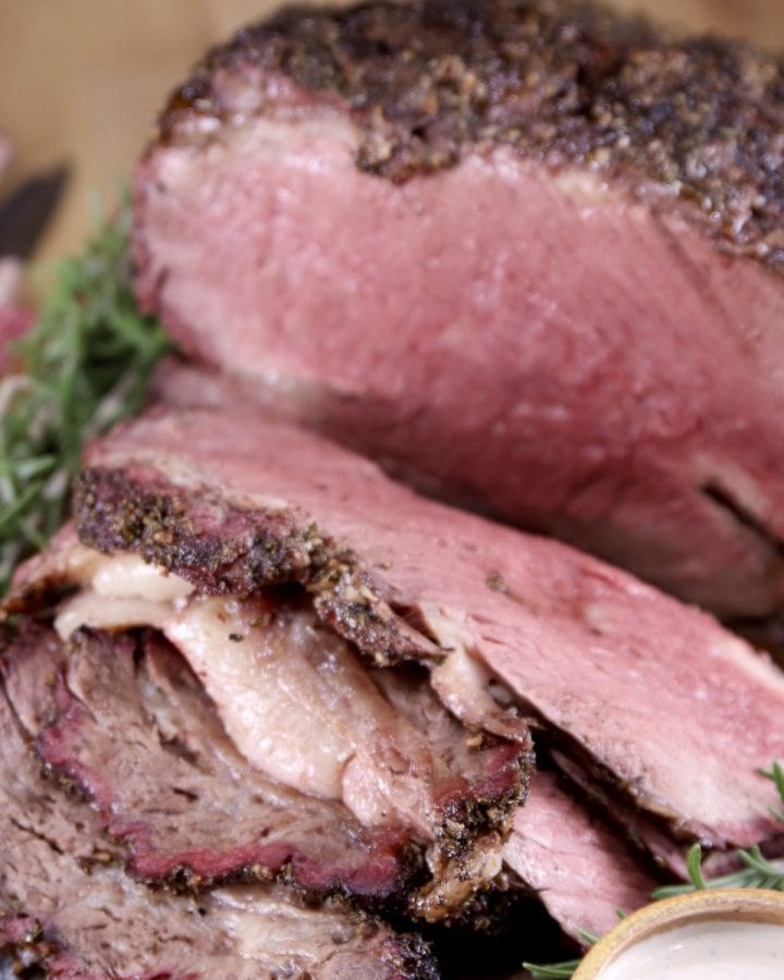 Grilled Prime Rib roast, sliced - close up photo