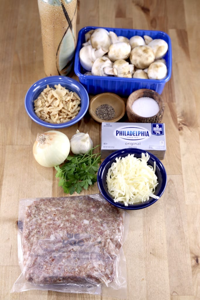 Ingredients for sausage stuffed mushrooms