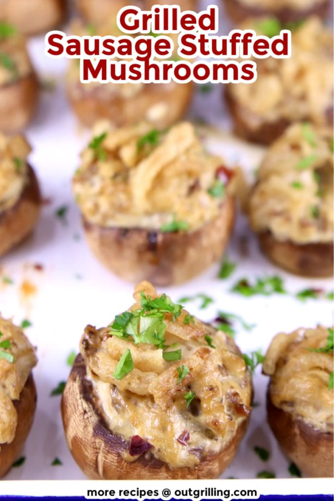 Grilled Stuffed Mushrooms on a white tray with text overlay
