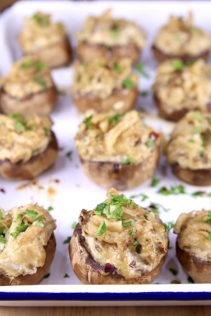 tray of grilled sausage stuffed mushrooms