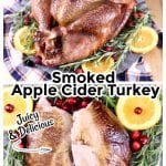 Smoked Apple Cider Turkey Collage with text overlay - whole turkey on a platter and just the turkey breast halves on a platter with oranges, cranberries and rosemary sprigs