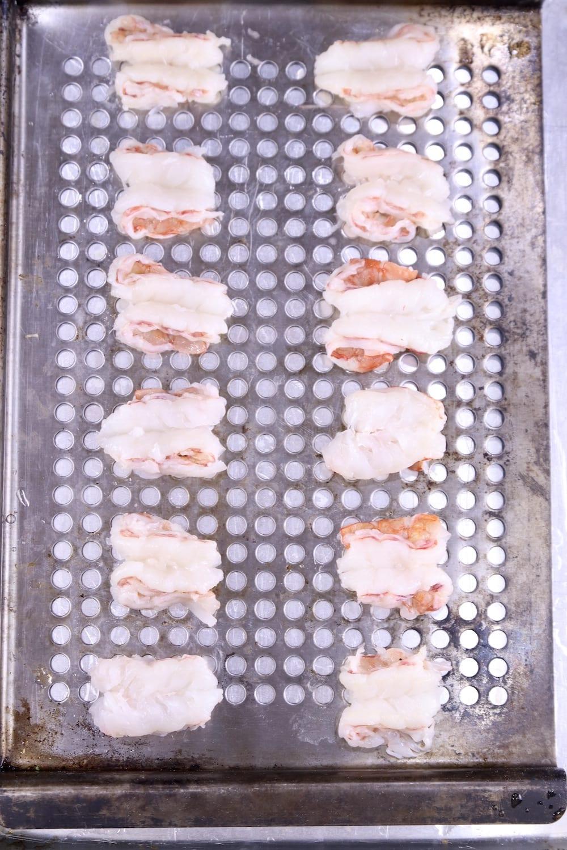 butterflied shrimp on a grill pan