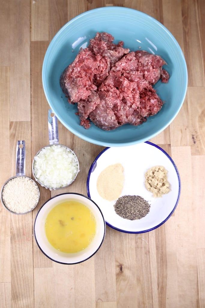 Ingredients for Meatballs - ground beef