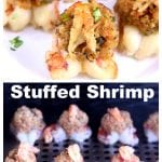 collage of stuffed shrimp - served on a platter & photo on grill with text overlay