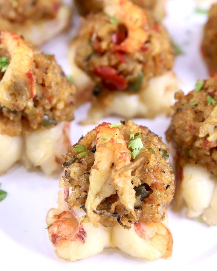 Stuffed shrimp appetizer on a platter